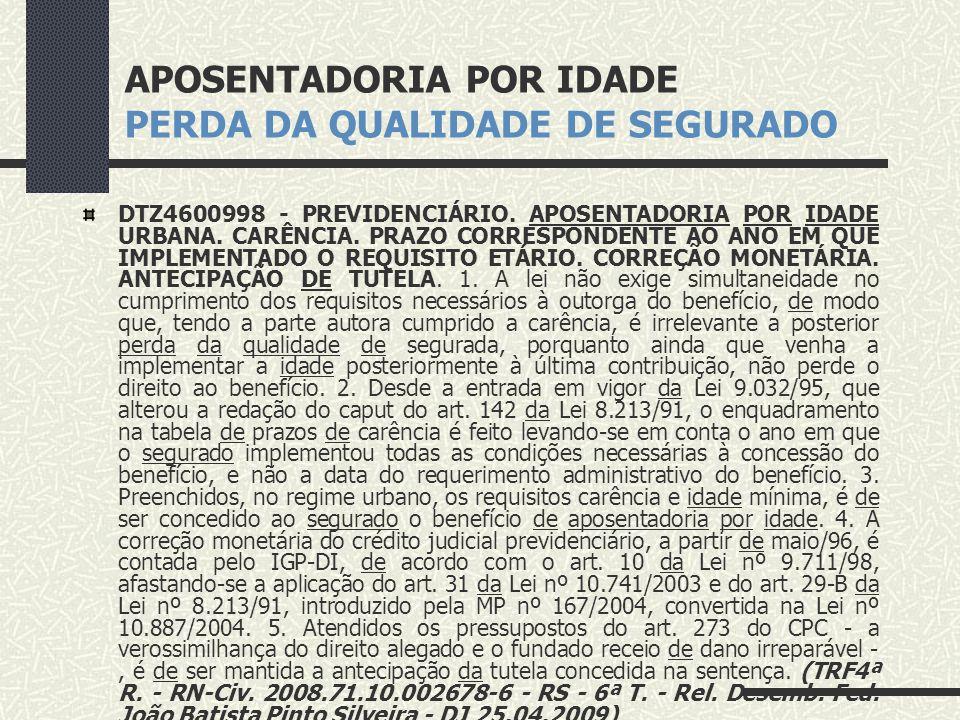 APOSENTADORIA POR IDADE PERDA DA QUALIDADE DE SEGURADO