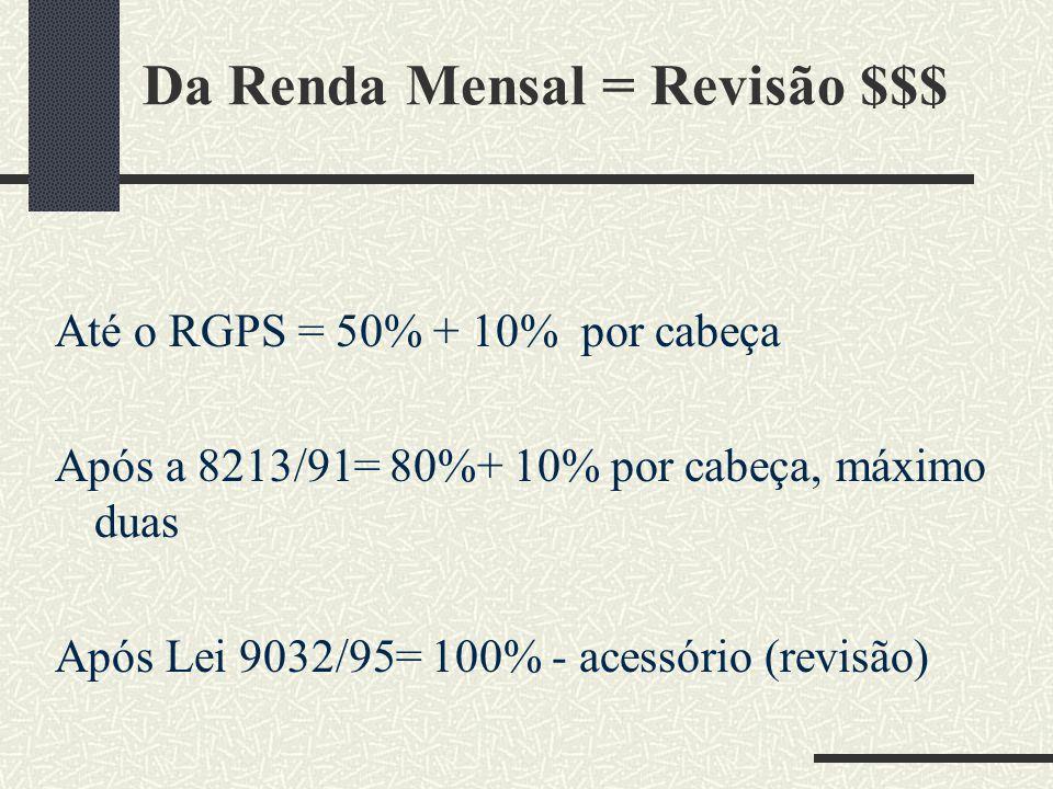 Da Renda Mensal = Revisão $$$