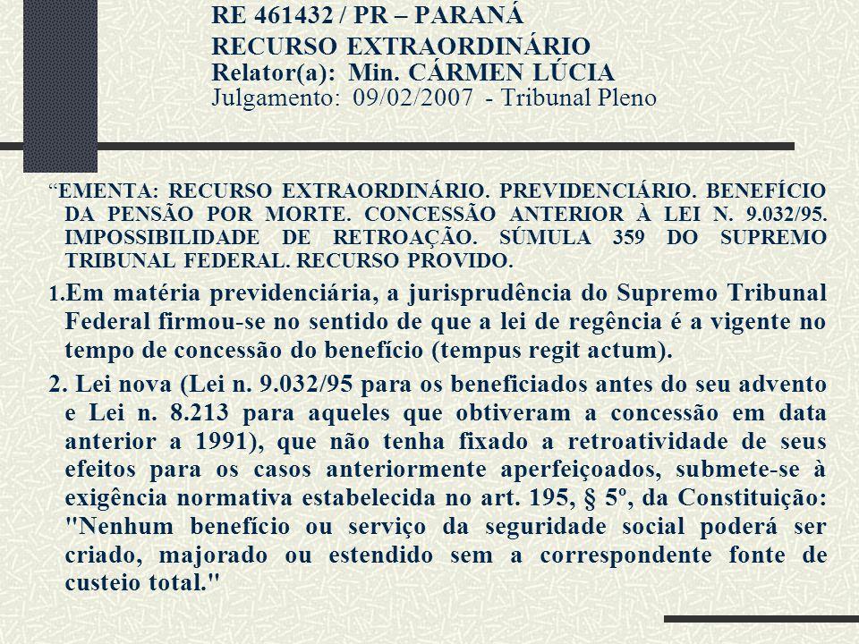 RE 461432 / PR – PARANÁ RECURSO EXTRAORDINÁRIO Relator(a): Min. CÁRMEN LÚCIA Julgamento: 09/02/2007 - Tribunal Pleno.