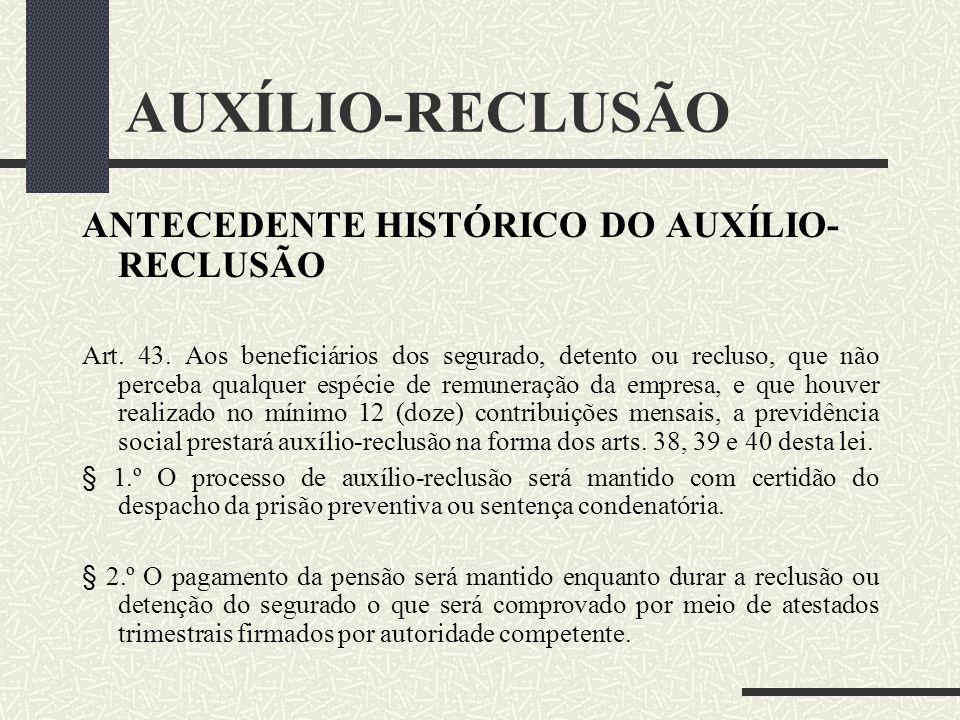 AUXÍLIO-RECLUSÃO ANTECEDENTE HISTÓRICO DO AUXÍLIO-RECLUSÃO