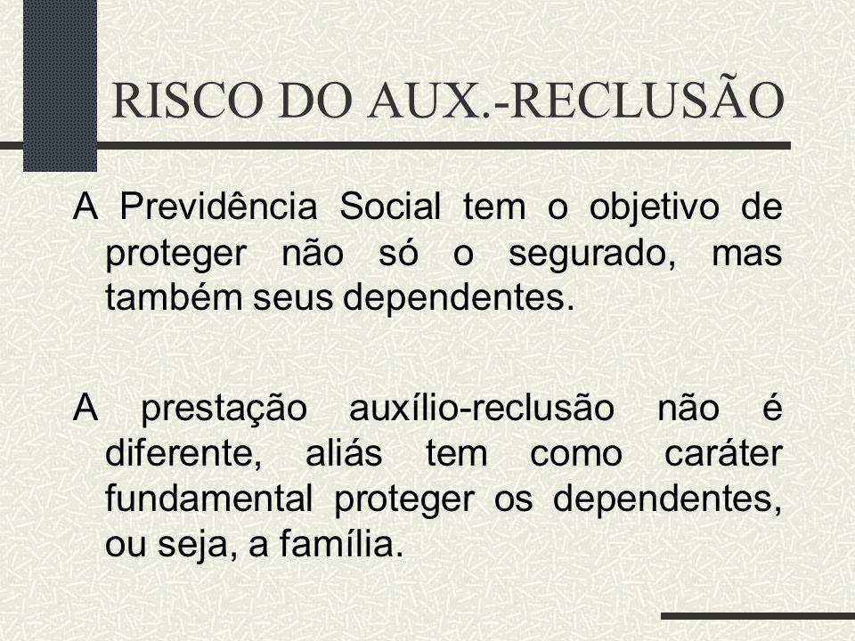 RISCO DO AUX.-RECLUSÃO A Previdência Social tem o objetivo de proteger não só o segurado, mas também seus dependentes.