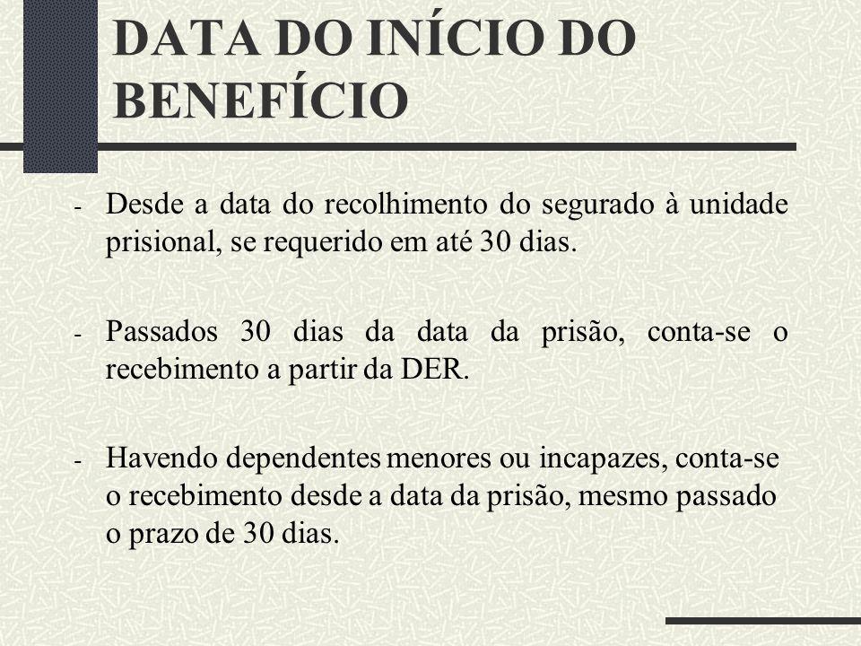 DATA DO INÍCIO DO BENEFÍCIO