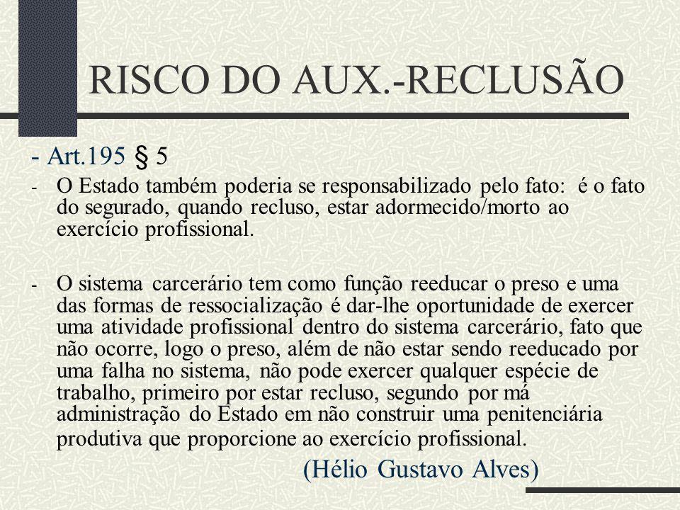 RISCO DO AUX.-RECLUSÃO - Art.195 § 5 (Hélio Gustavo Alves)