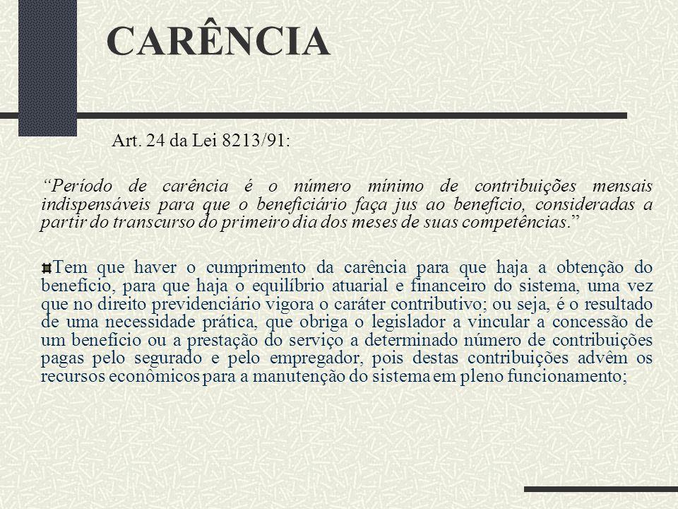 CARÊNCIA Art. 24 da Lei 8213/91: