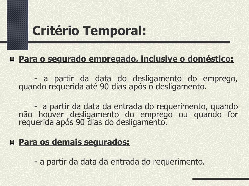 Critério Temporal: Para o segurado empregado, inclusive o doméstico: