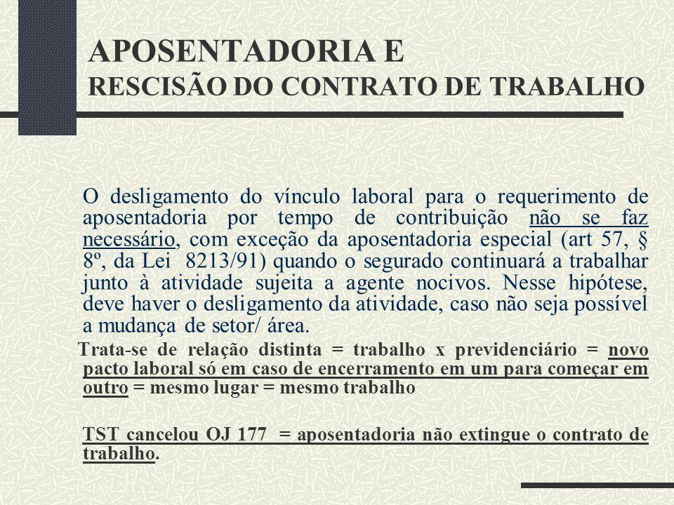APOSENTADORIA E RESCISÃO DO CONTRATO DE TRABALHO