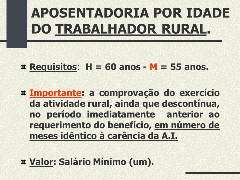 APOSENTADORIA POR IDADE DO TRABALHADOR RURAL.