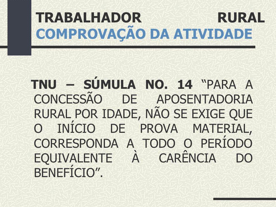 TRABALHADOR RURAL COMPROVAÇÃO DA ATIVIDADE