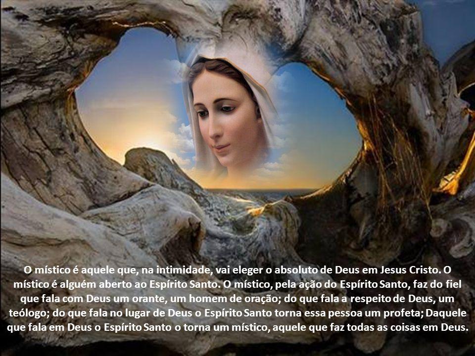 O místico é aquele que, na intimidade, vai eleger o absoluto de Deus em Jesus Cristo. O místico é alguém aberto ao Espírito Santo. O místico, pela ação do Espírito Santo, faz do fiel que fala com Deus um orante, um homem de oração; do que fala a respeito de Deus, um teólogo; do que fala no lugar de Deus o Espírito Santo torna essa pessoa um profeta; Daquele que fala em Deus o Espírito Santo o torna um místico, aquele que faz todas as coisas em Deus.