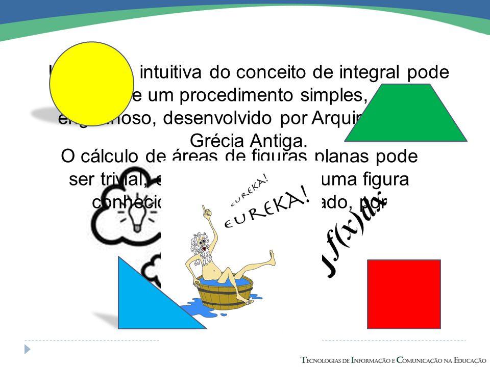 Uma ideia intuitiva do conceito de integral pode surgir de um procedimento simples, porém engenhoso, desenvolvido por Arquimedes na Grécia Antiga.