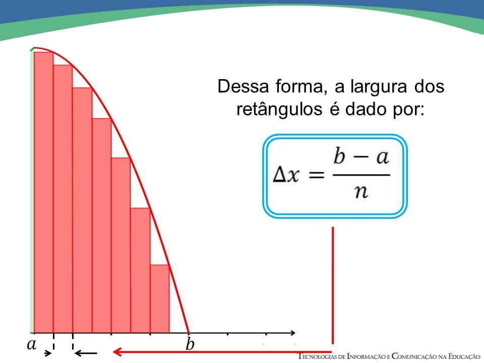 Dessa forma, a largura dos retângulos é dado por: