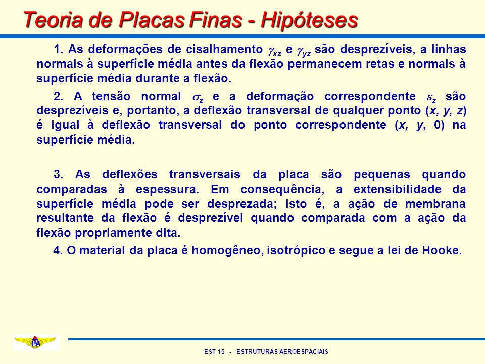 Teoria de Placas Finas - Hipóteses