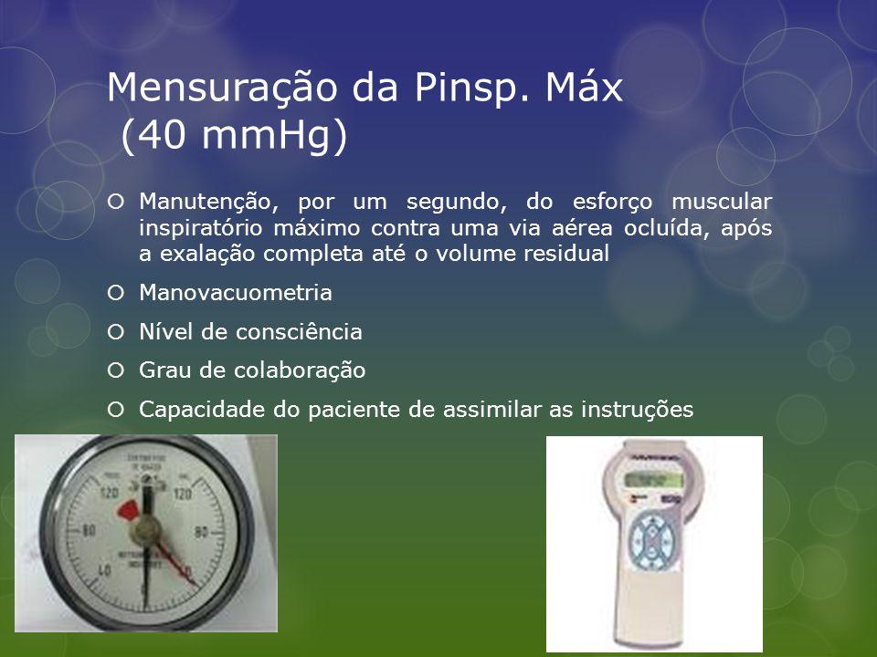 Mensuração da Pinsp. Máx (40 mmHg)