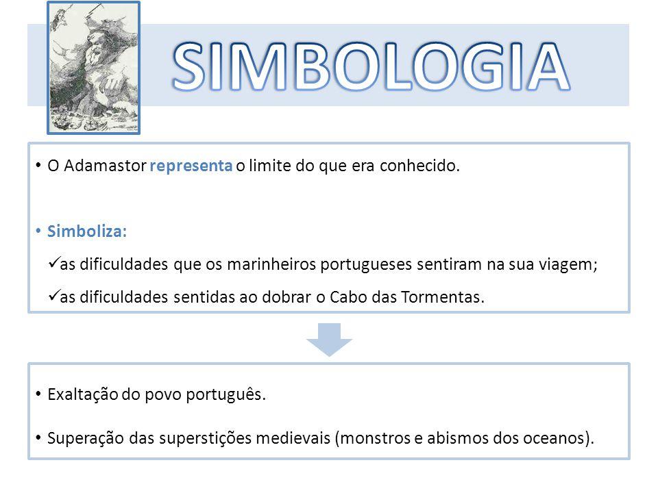 SIMBOLOGIA O Adamastor representa o limite do que era conhecido.