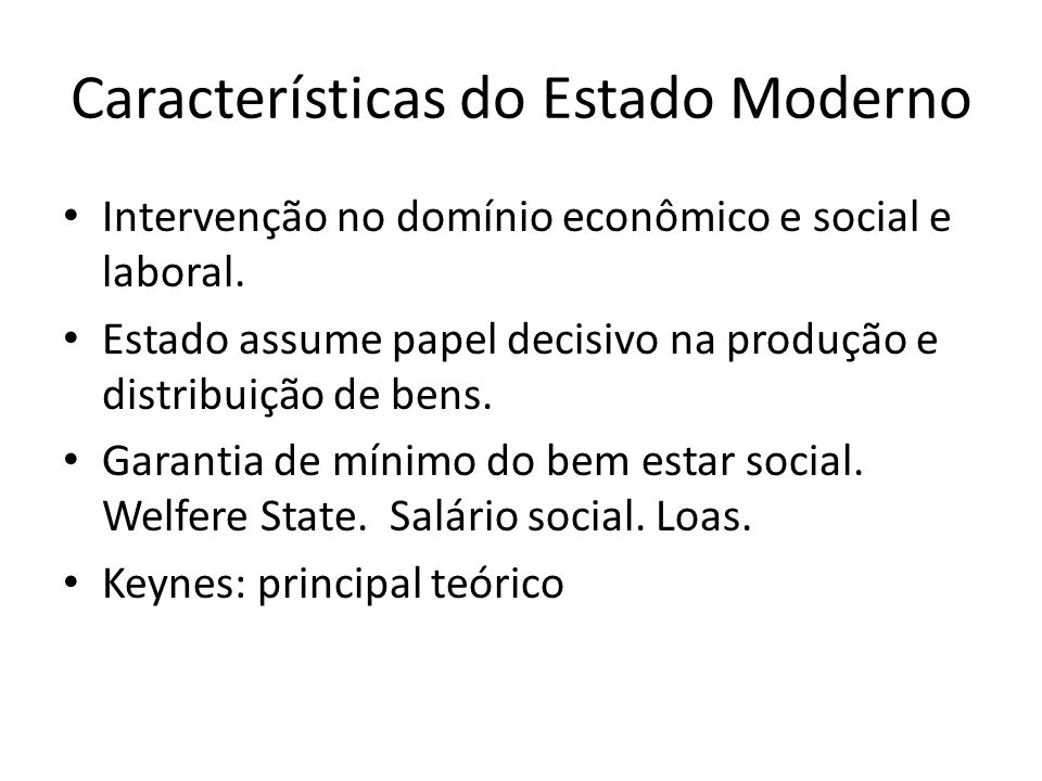 Características do Estado Moderno