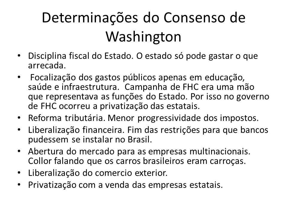 Determinações do Consenso de Washington