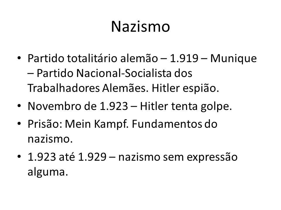 Nazismo Partido totalitário alemão – 1.919 – Munique – Partido Nacional-Socialista dos Trabalhadores Alemães. Hitler espião.
