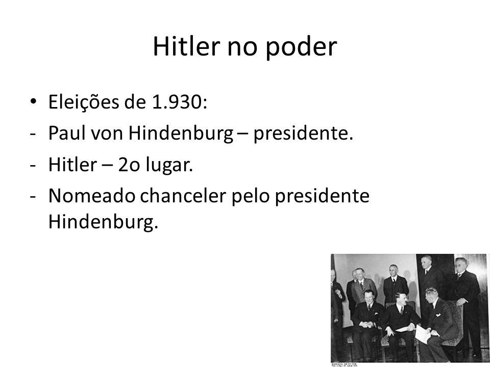 Hitler no poder Eleições de 1.930: Paul von Hindenburg – presidente.