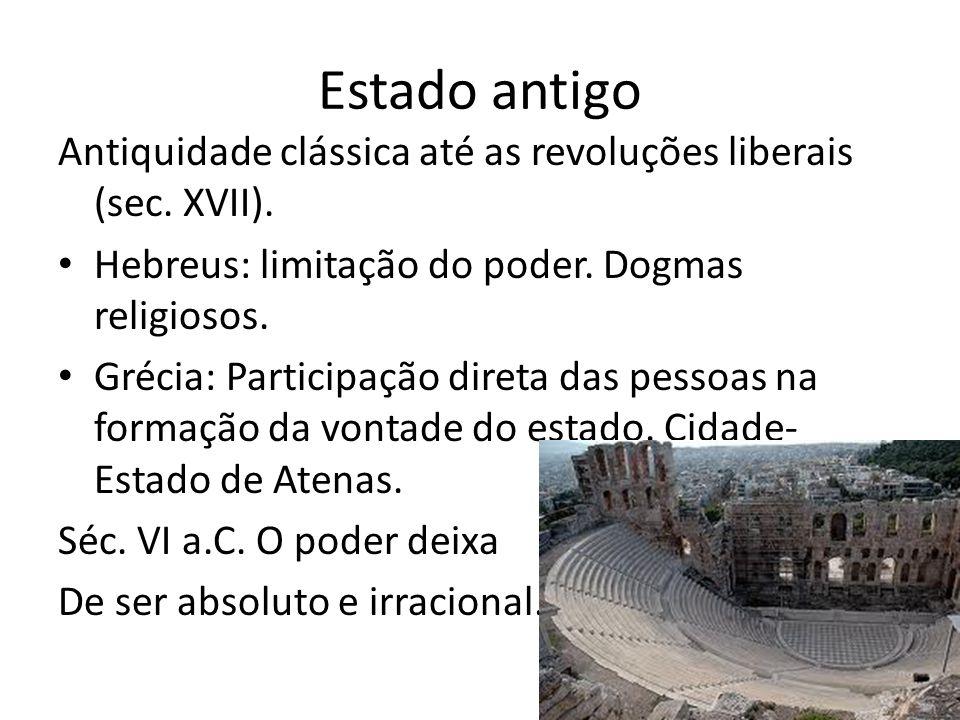 Estado antigo Antiquidade clássica até as revoluções liberais (sec. XVII). Hebreus: limitação do poder. Dogmas religiosos.