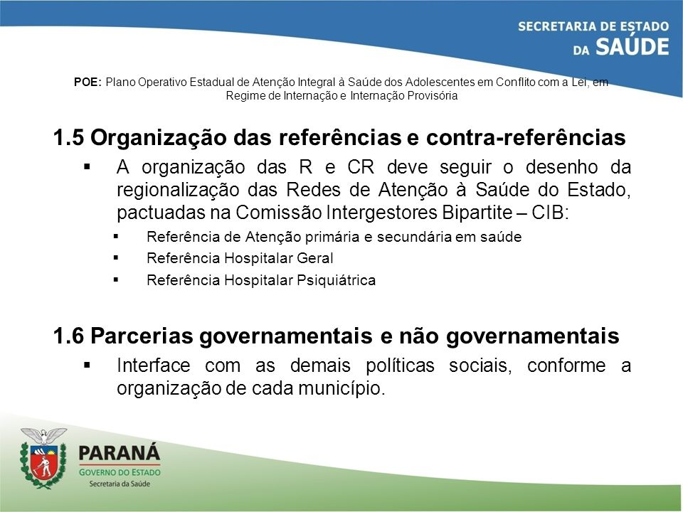 1.5 Organização das referências e contra-referências