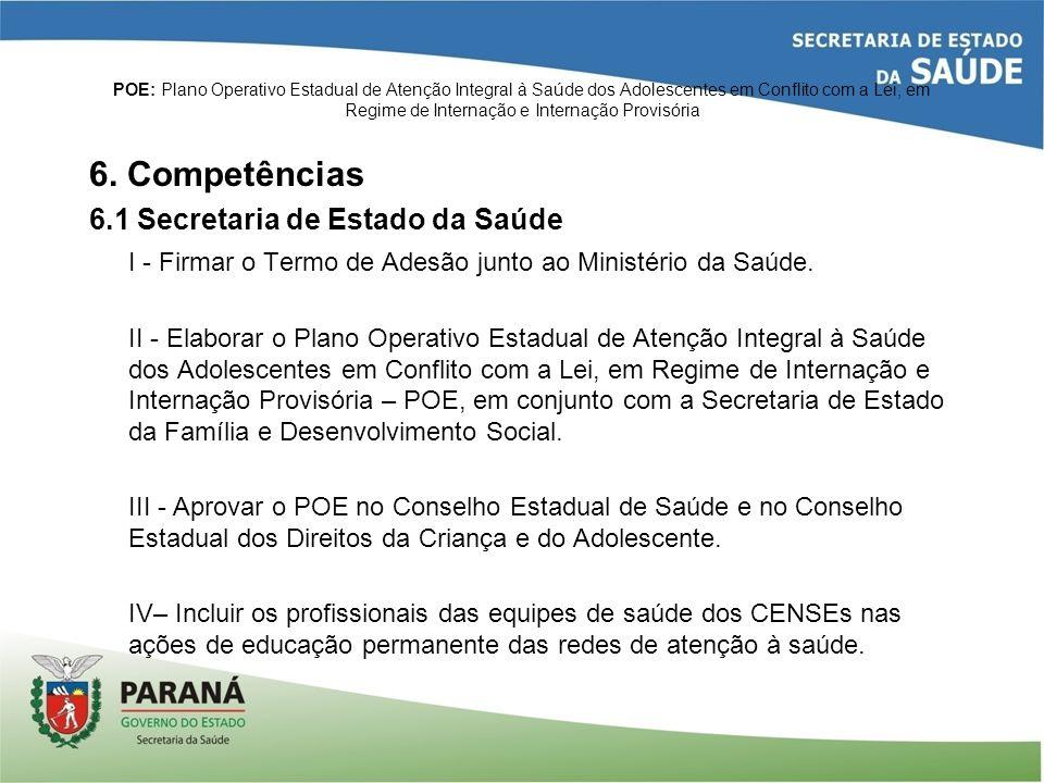 6. Competências 6.1 Secretaria de Estado da Saúde
