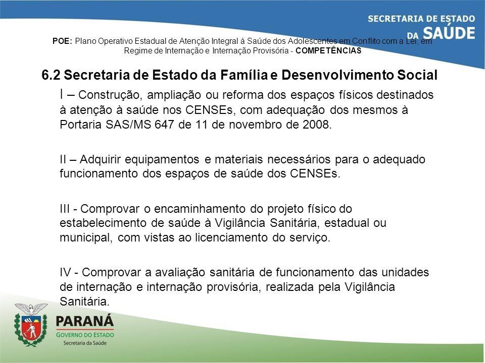 6.2 Secretaria de Estado da Família e Desenvolvimento Social