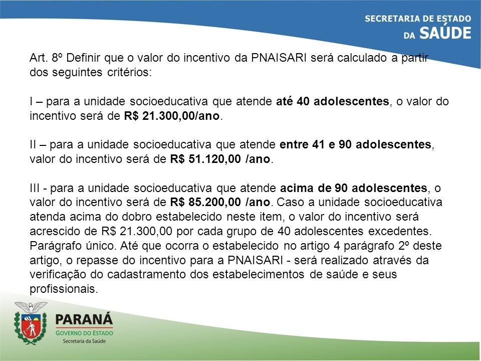 Art. 8º Definir que o valor do incentivo da PNAISARI será calculado a partir