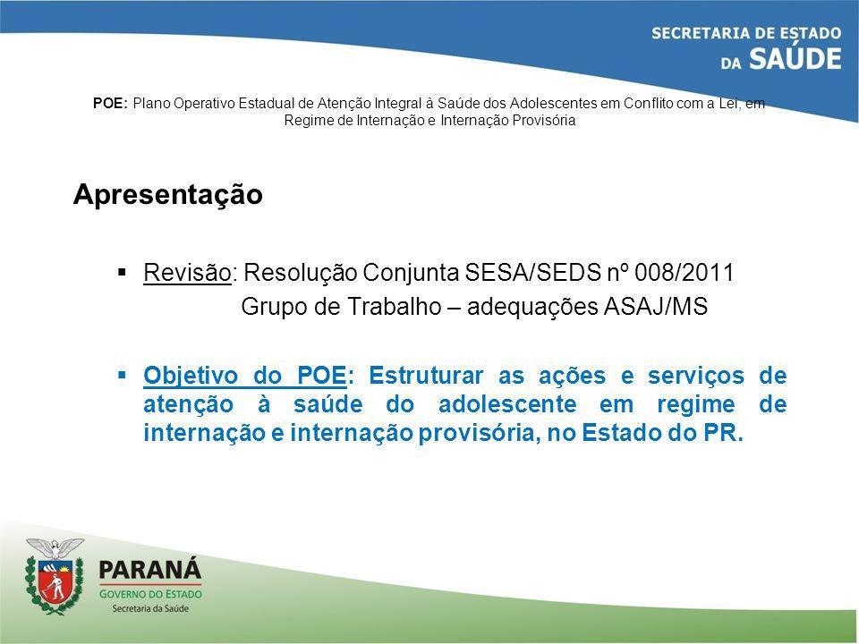 Apresentação Revisão: Resolução Conjunta SESA/SEDS nº 008/2011