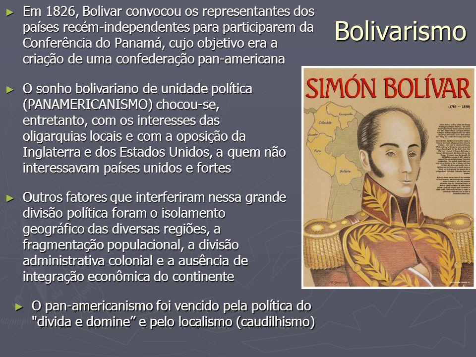 Em 1826, Bolivar convocou os representantes dos países recém-independentes para participarem da Conferência do Panamá, cujo objetivo era a criação de uma confederação pan-americana