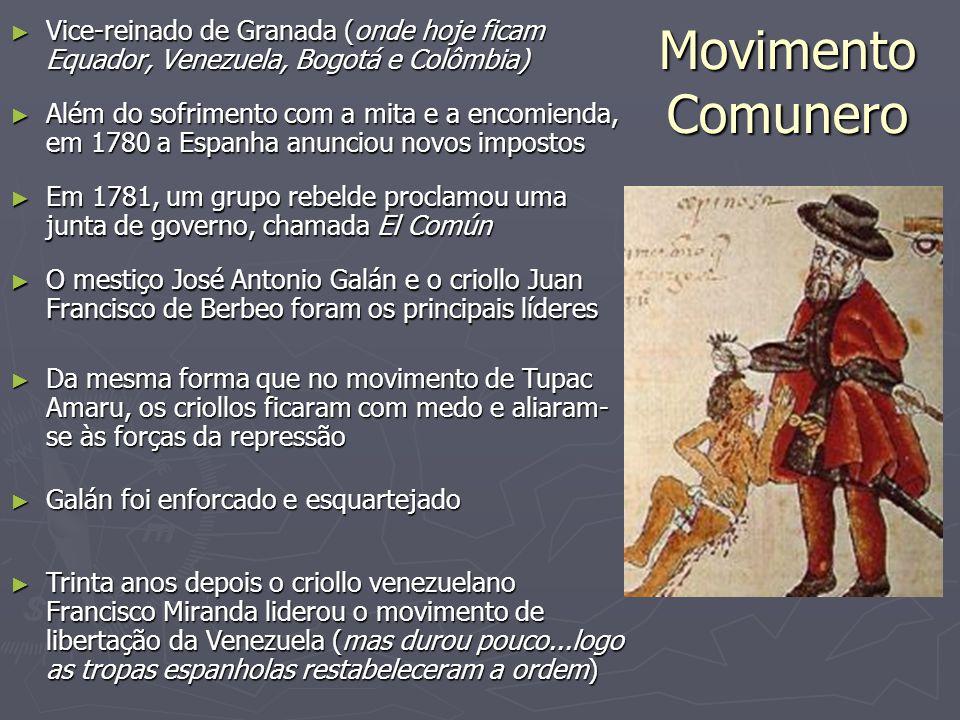 Vice-reinado de Granada (onde hoje ficam Equador, Venezuela, Bogotá e Colômbia)