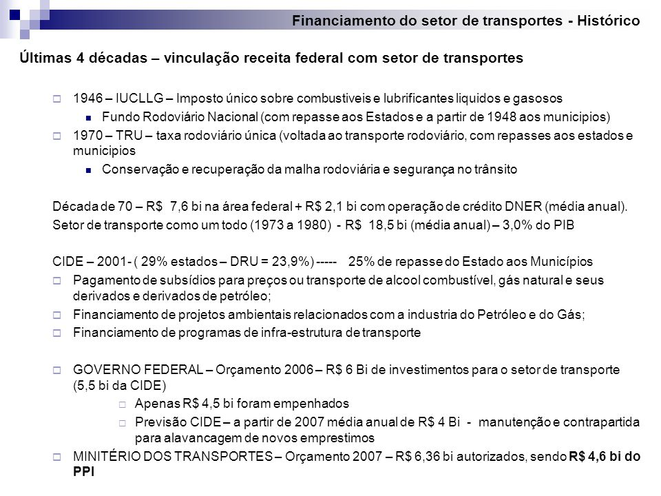 Financiamento do setor de transportes - Histórico