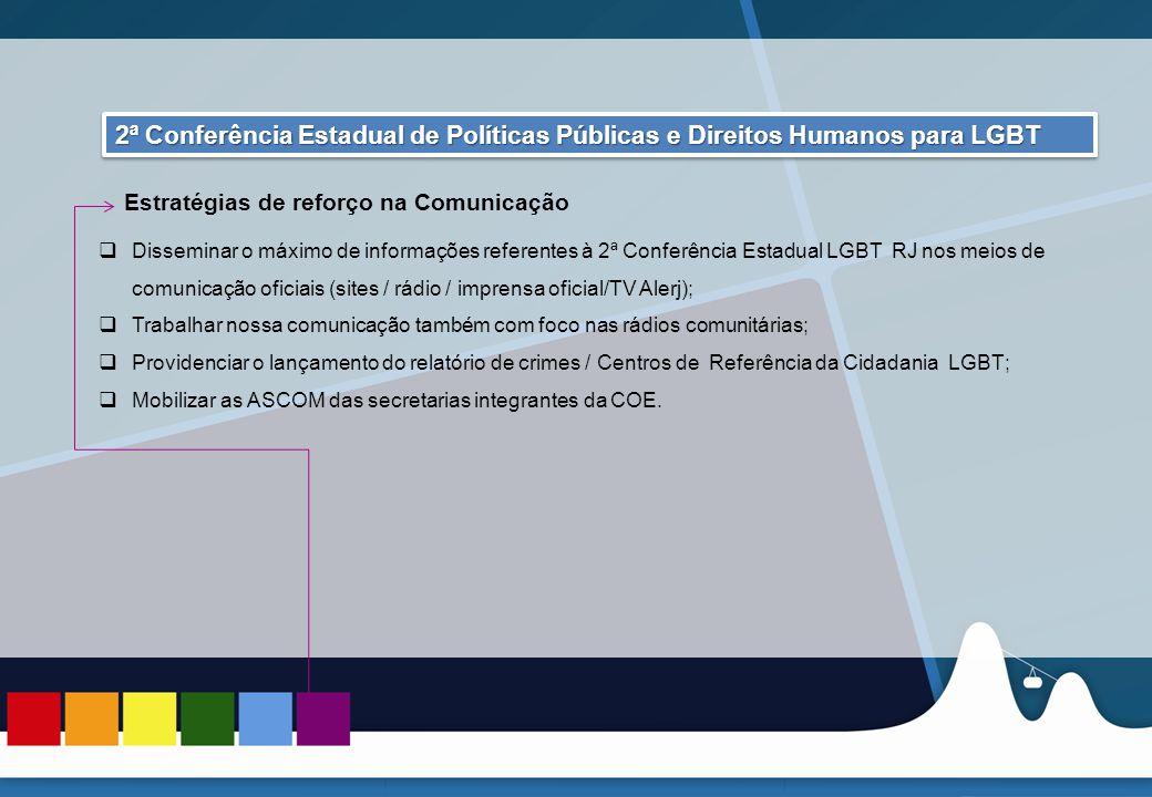 REUNIÃO DAS ASCOMs 2ª Conferência Estadual de Políticas Públicas e Direitos Humanos para LGBT. Estratégias de reforço na Comunicação.