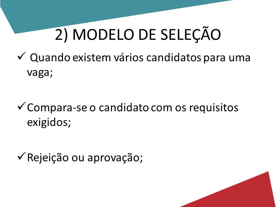 2) MODELO DE SELEÇÃO Quando existem vários candidatos para uma vaga;