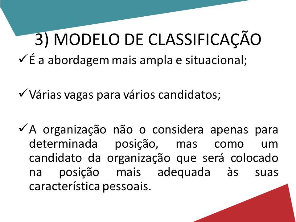 3) MODELO DE CLASSIFICAÇÃO