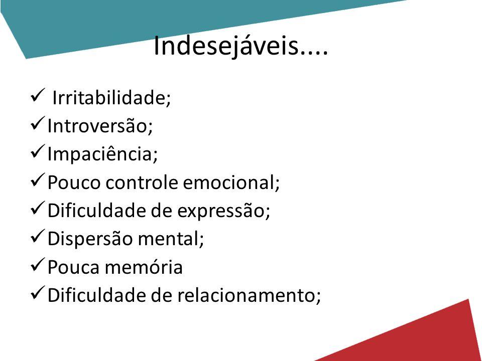 Indesejáveis.... Irritabilidade; Introversão; Impaciência;