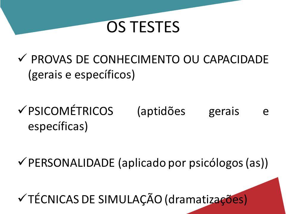OS TESTES PROVAS DE CONHECIMENTO OU CAPACIDADE (gerais e específicos)
