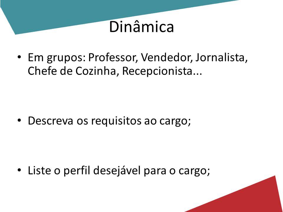 Dinâmica Em grupos: Professor, Vendedor, Jornalista, Chefe de Cozinha, Recepcionista... Descreva os requisitos ao cargo;