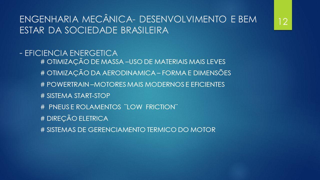 ENGENHARIA MECÂNICA- DESENVOLVIMENTO E BEM ESTAR DA SOCIEDADE BRASILEIRA - EFICIENCIA ENERGETICA