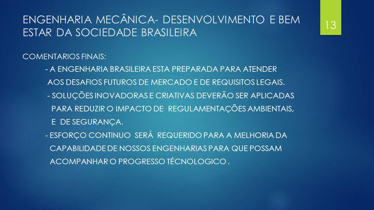 ENGENHARIA MECÂNICA- DESENVOLVIMENTO E BEM ESTAR DA SOCIEDADE BRASILEIRA COMENTARIOS FINAIS: