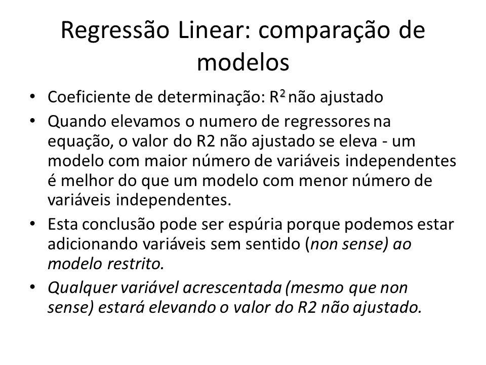 Regressão Linear: comparação de modelos