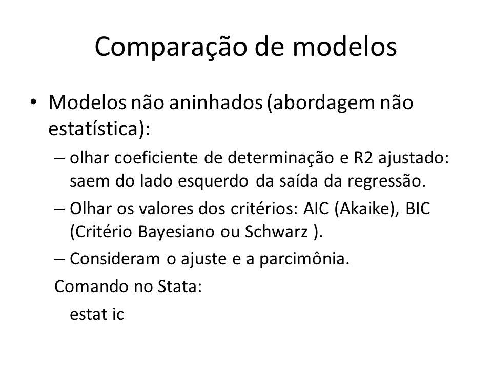 Comparação de modelos Modelos não aninhados (abordagem não estatística):