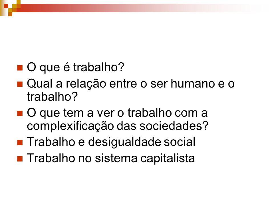 O que é trabalho Qual a relação entre o ser humano e o trabalho O que tem a ver o trabalho com a complexificação das sociedades