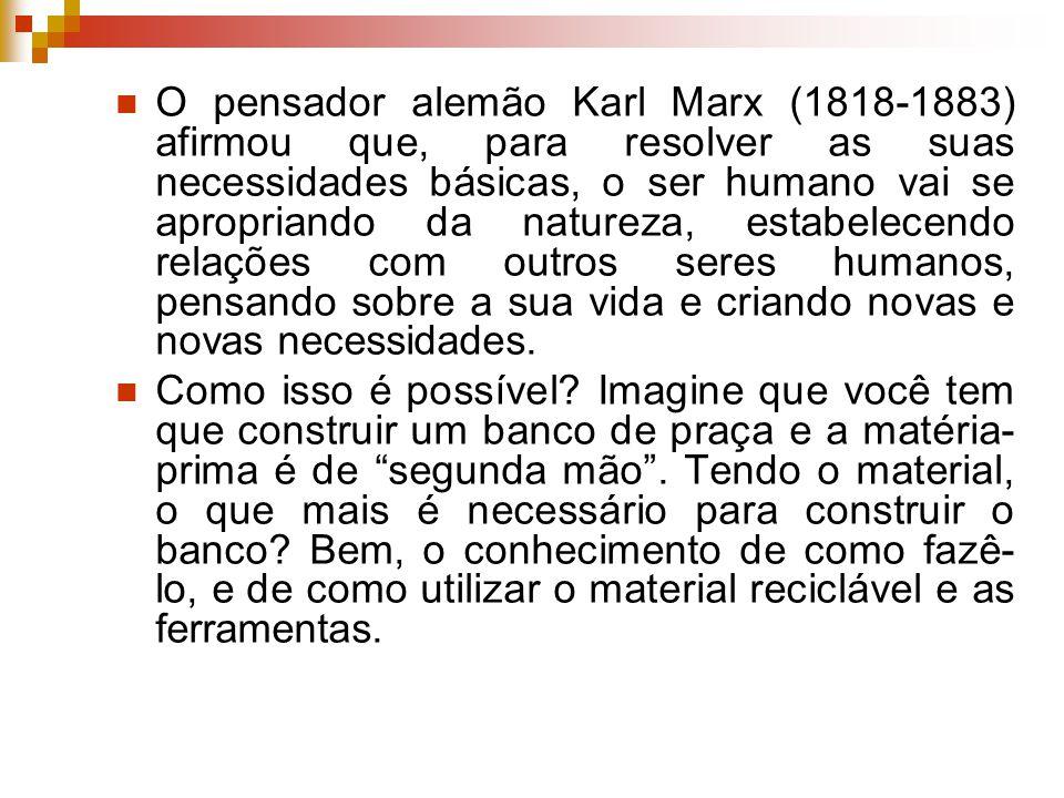 O pensador alemão Karl Marx (1818-1883) afirmou que, para resolver as suas necessidades básicas, o ser humano vai se apropriando da natureza, estabelecendo relações com outros seres humanos, pensando sobre a sua vida e criando novas e novas necessidades.
