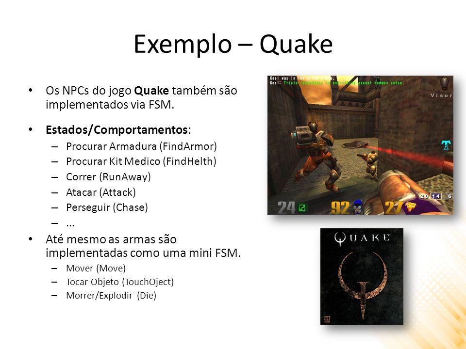 Exemplo – Quake Os NPCs do jogo Quake também são implementados via FSM. Estados/Comportamentos: Procurar Armadura (FindArmor)