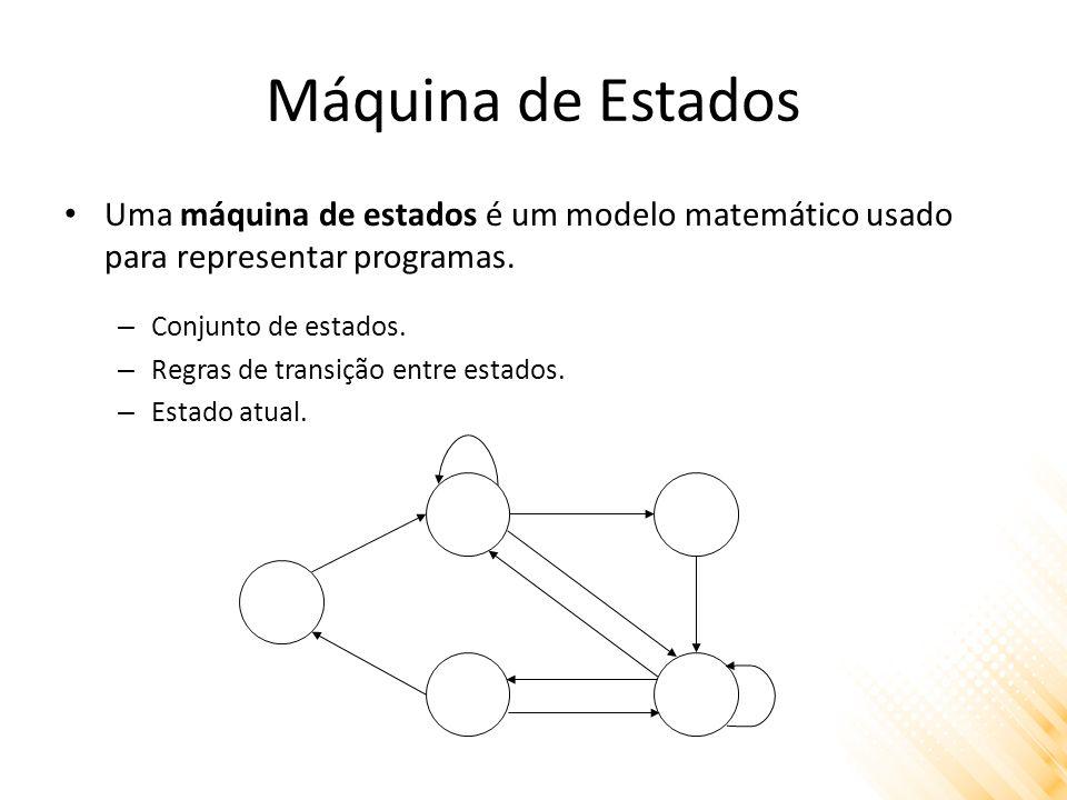 Máquina de Estados Uma máquina de estados é um modelo matemático usado para representar programas. Conjunto de estados.