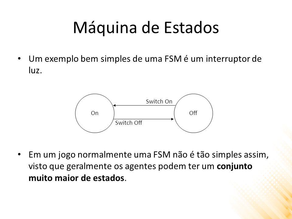 Máquina de Estados Um exemplo bem simples de uma FSM é um interruptor de luz.