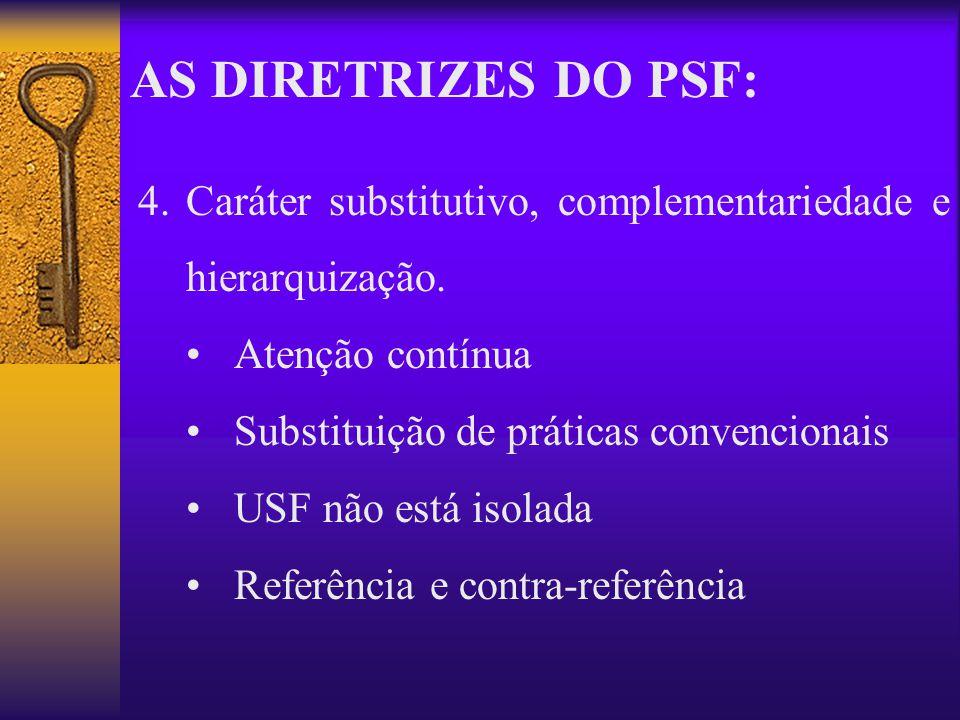 AS DIRETRIZES DO PSF: Caráter substitutivo, complementariedade e hierarquização. Atenção contínua.