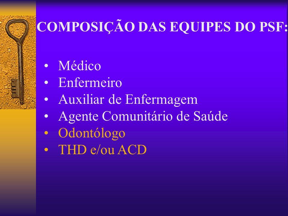 COMPOSIÇÃO DAS EQUIPES DO PSF: