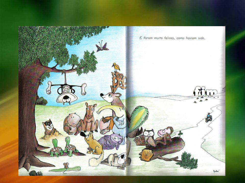 Ele compreendeu que o gambá estava triste na realidade e então o levou de volta para a floresta onde ele havia dantes sido feliz de verdade (fig 4) (ALVES, 2001).