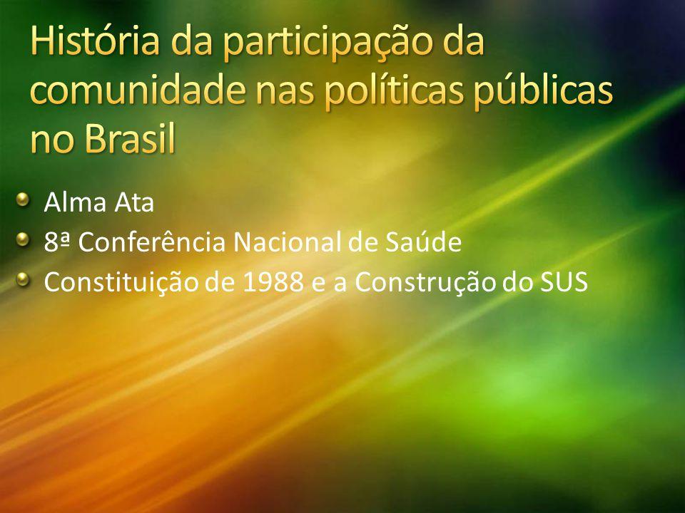 História da participação da comunidade nas políticas públicas no Brasil